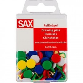 Πινέζες πολύχρωμες 80 τεμ SAX 5-811-02