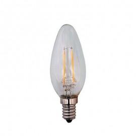 Λάμπα LED κεράκι(μινιόν) 4W FILAMENT C37 E14 ντιμαριζόμενη γυάλινη Eurolamp