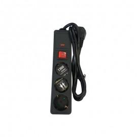 Πολύπριζο μαύρο 3X1,5mm ασφαλείας με διακόπτη και καλώδιο 1,5 μέτρο Ferrara