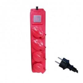 Πολύπριζο 4 θέσεων με διακόπτη κόκκινο στεγανό και καλώδιο 3X1,5mm 3 μέτρα Ferrara