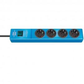 Πολύπριζο 4 θέσεων με διακόπτη ασφαλείας Hugo μπλε και καλώδιο 2m. 1150610184